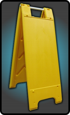 Narrow External A frame sign stand in yellow